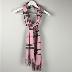 Lord & Taylor Pink Plaid Super Soft Scarf